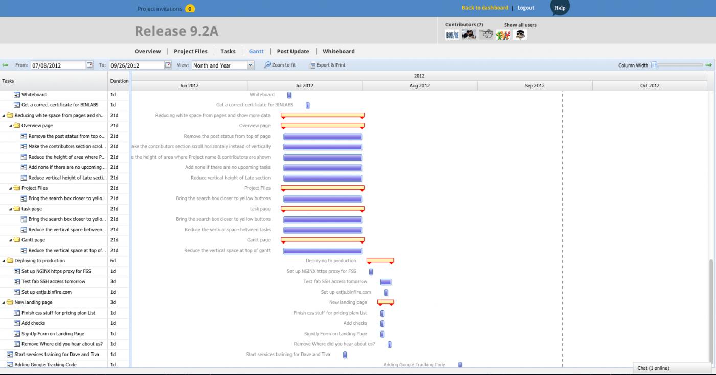 binfire project management screenshot