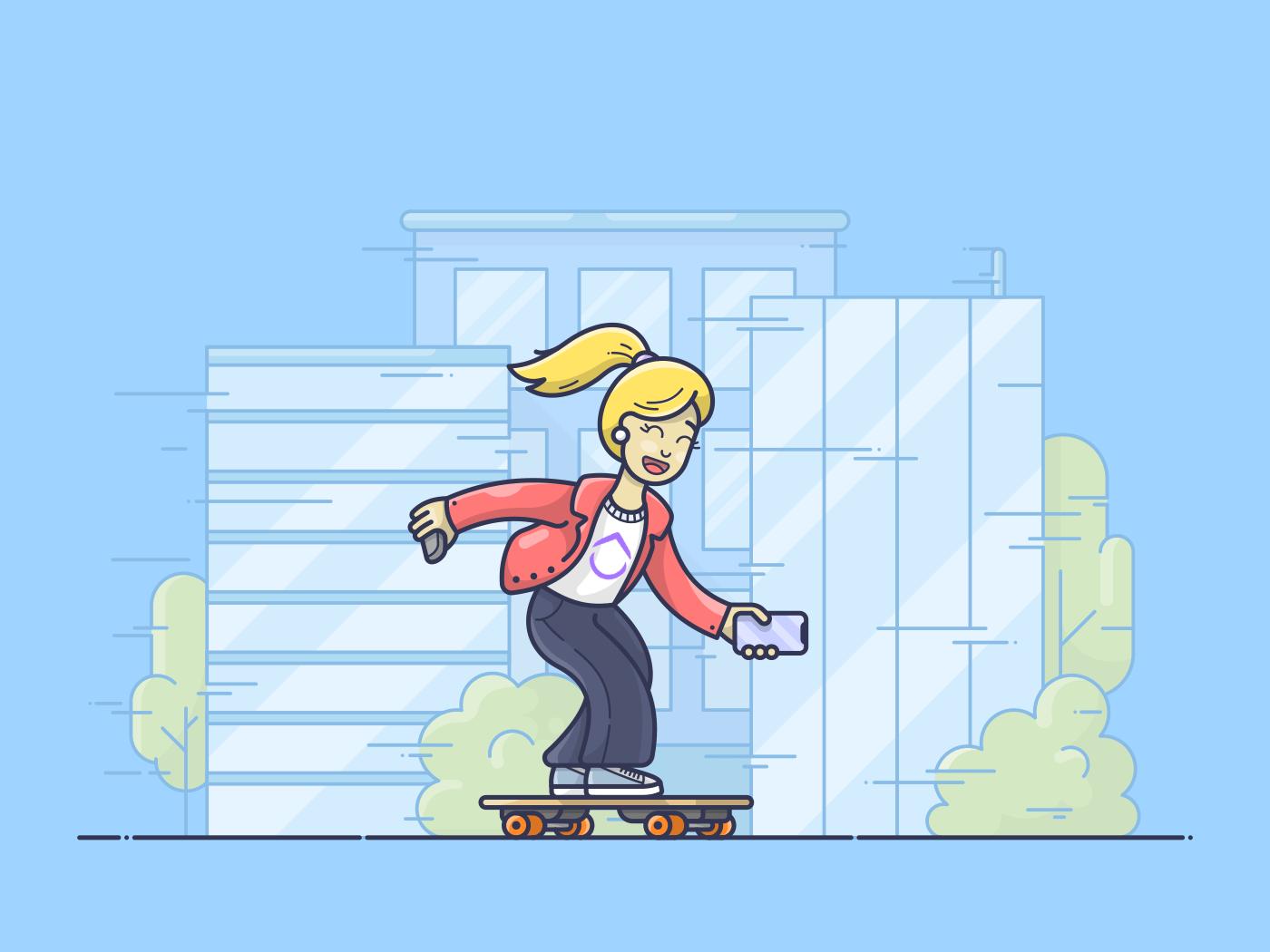 Girl skating by office buildings