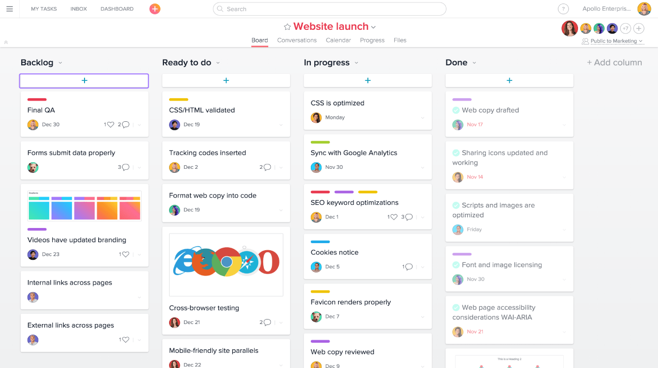 asana project management screenshot