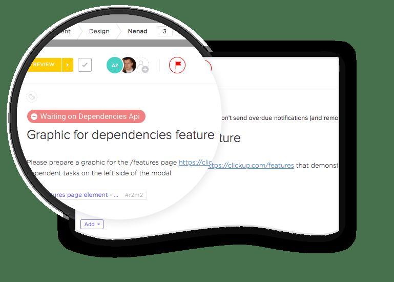 dependencies in clickup