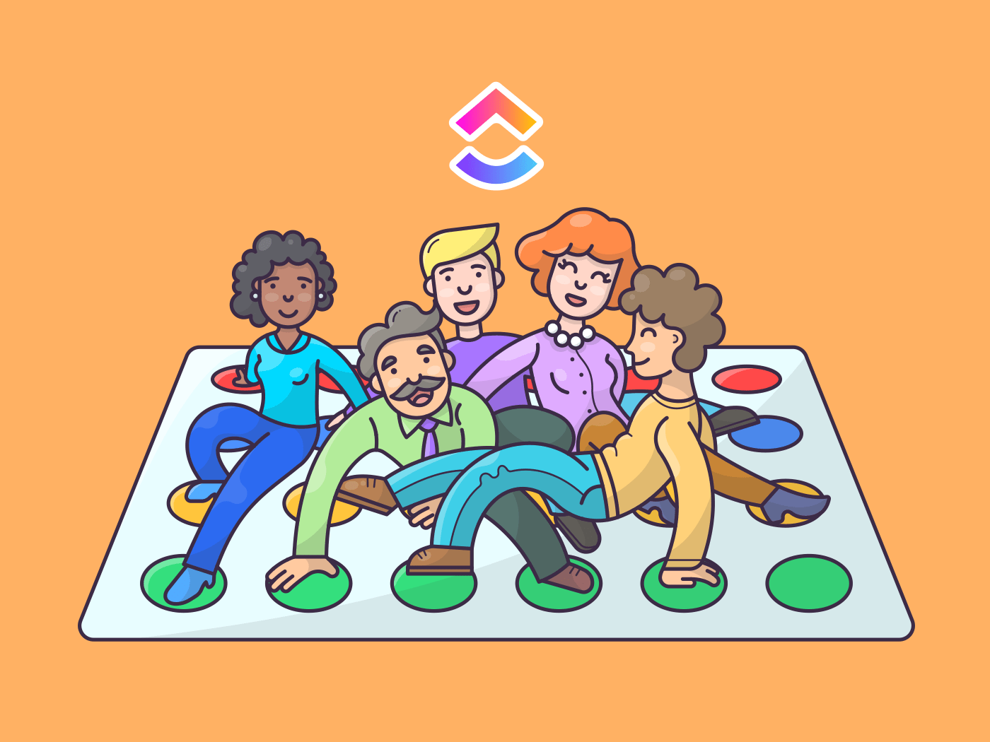 group of people playing twister