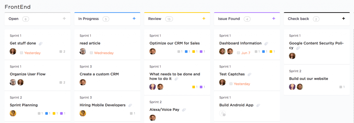 project kanban board in clickup