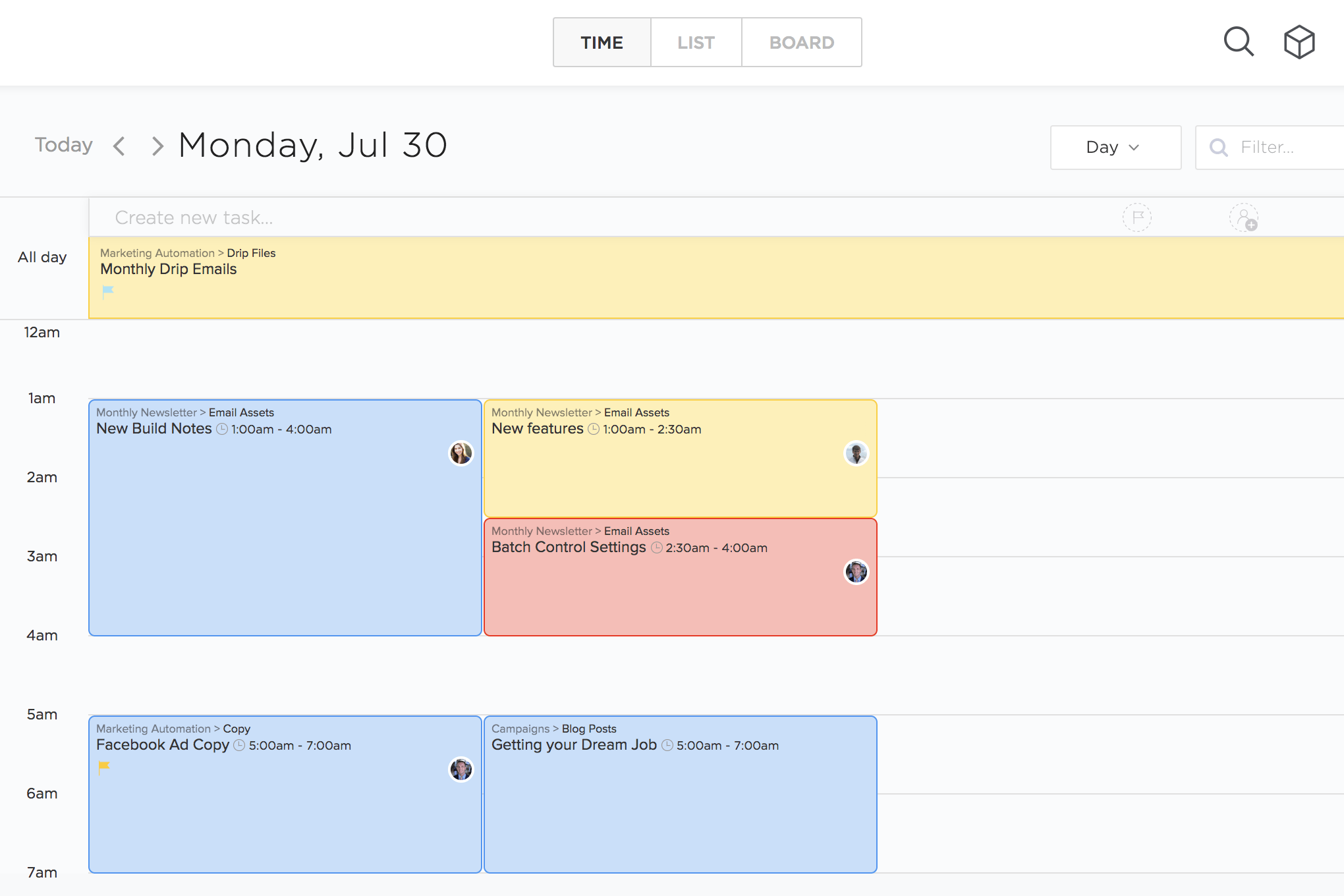 Drag and drop time management for your team's agenda