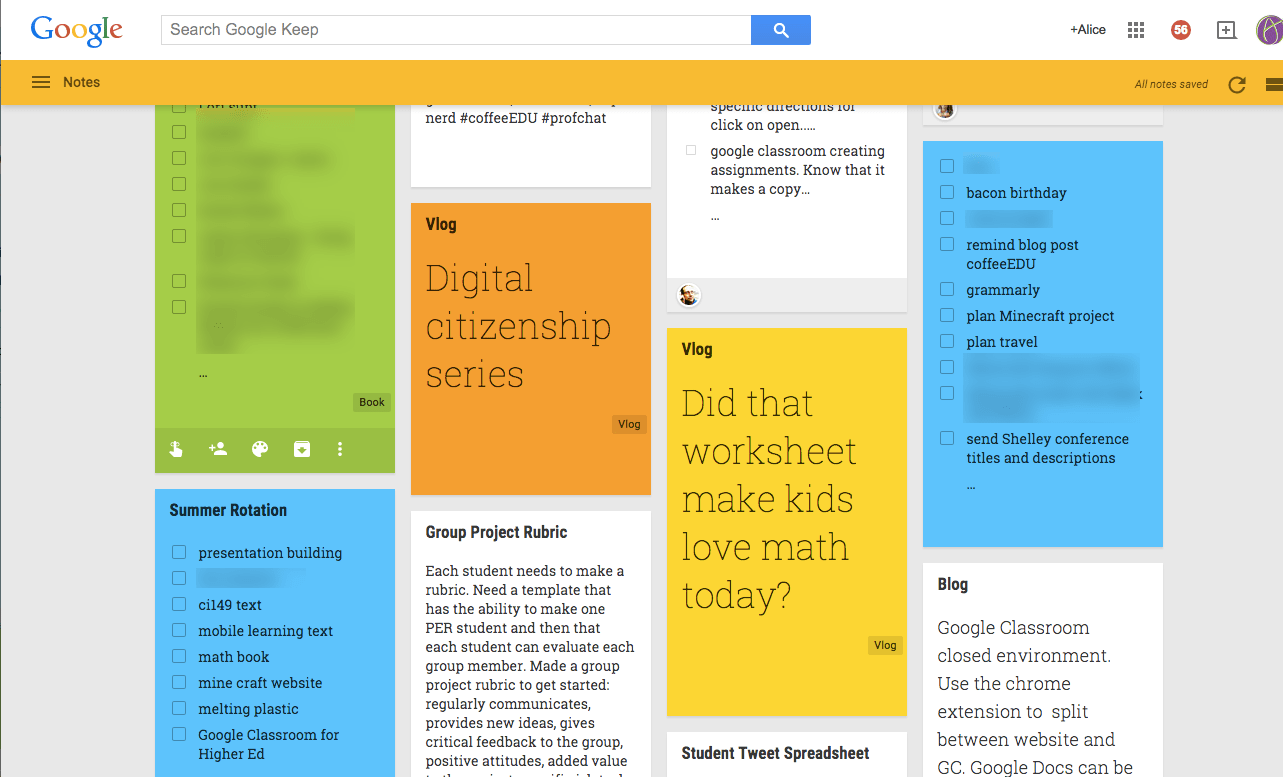 google keep note taking app