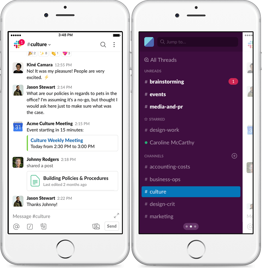 slack mobile messaging app