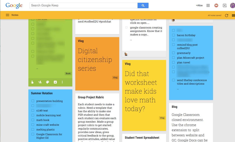 Google Keep homepage
