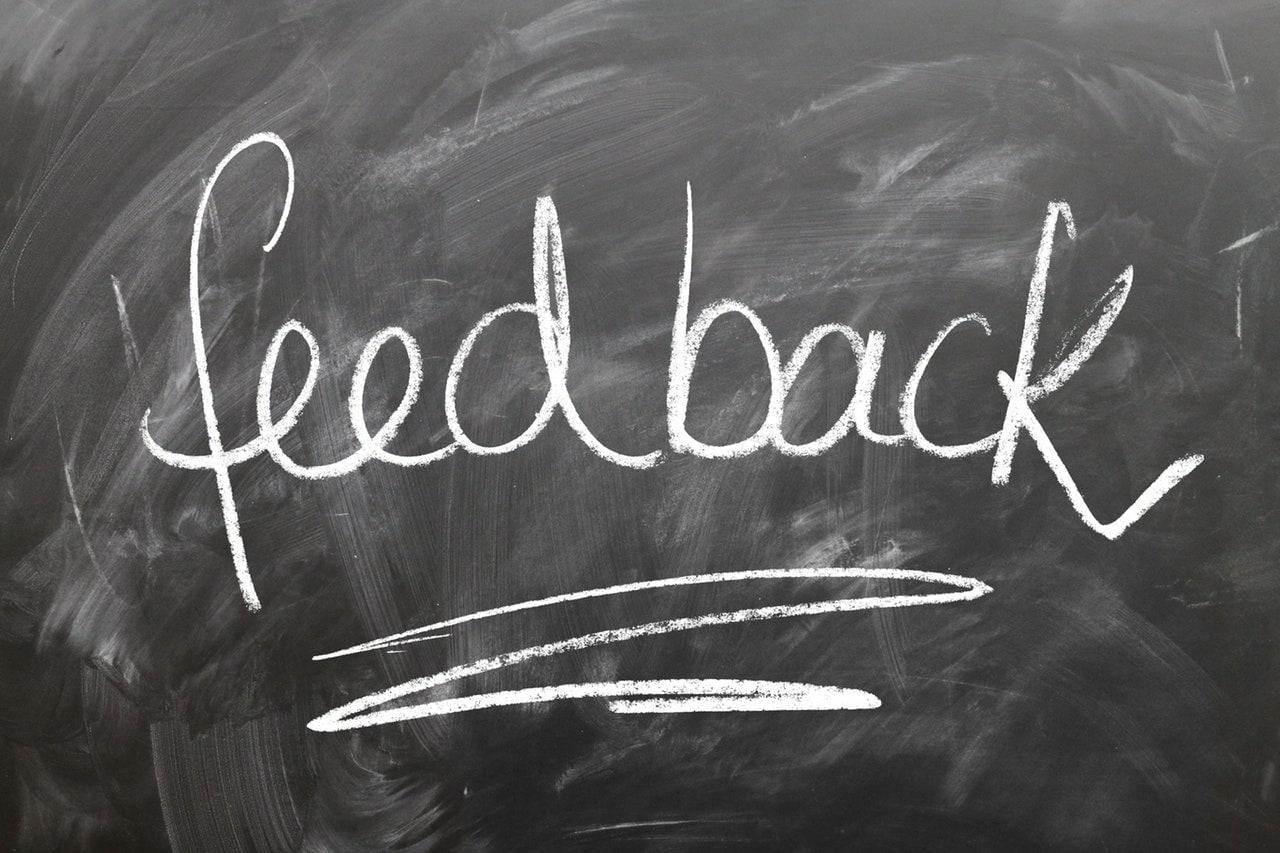 feedback written on a chalkboard