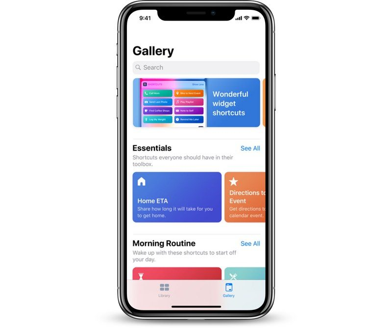 gallery shortcuts on shortcuts mobile app