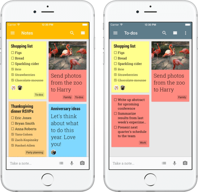 google keep notepad mobile view