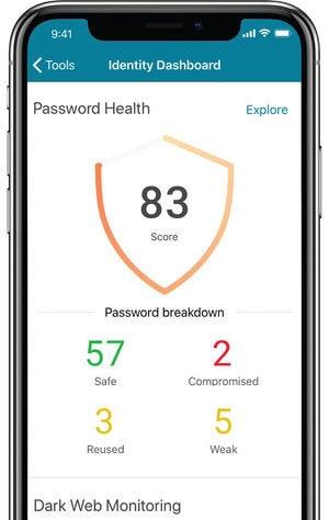 dashlane mobile app password health 83 screen