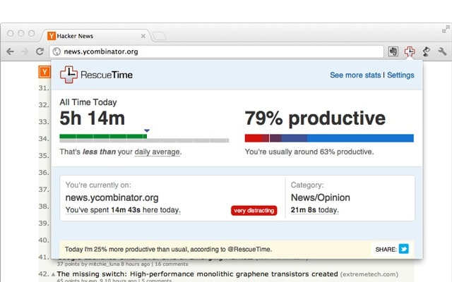 rescue time productivity chrome extension
