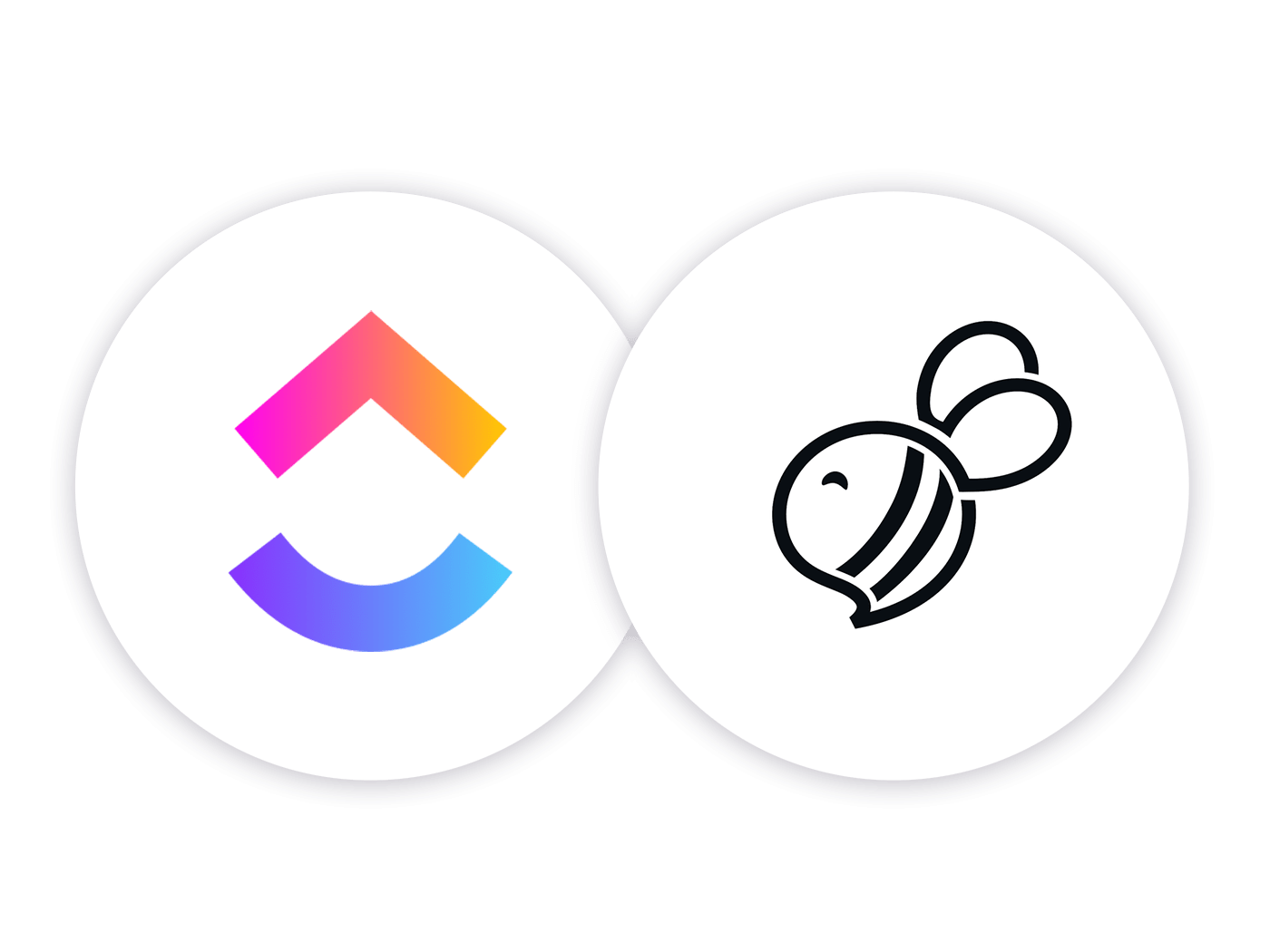 ClickUp logo and Support bee logo