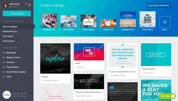 Canva create a design page