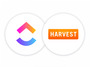 ClickUp logo and Harvest logo