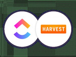 ClickUp logo and Harvest logo