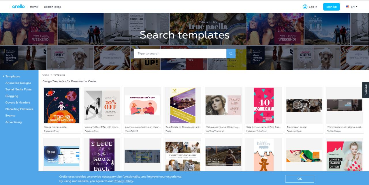 Crello templates library
