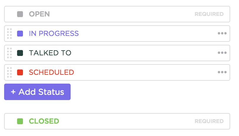 custom status workflow in ClickUp