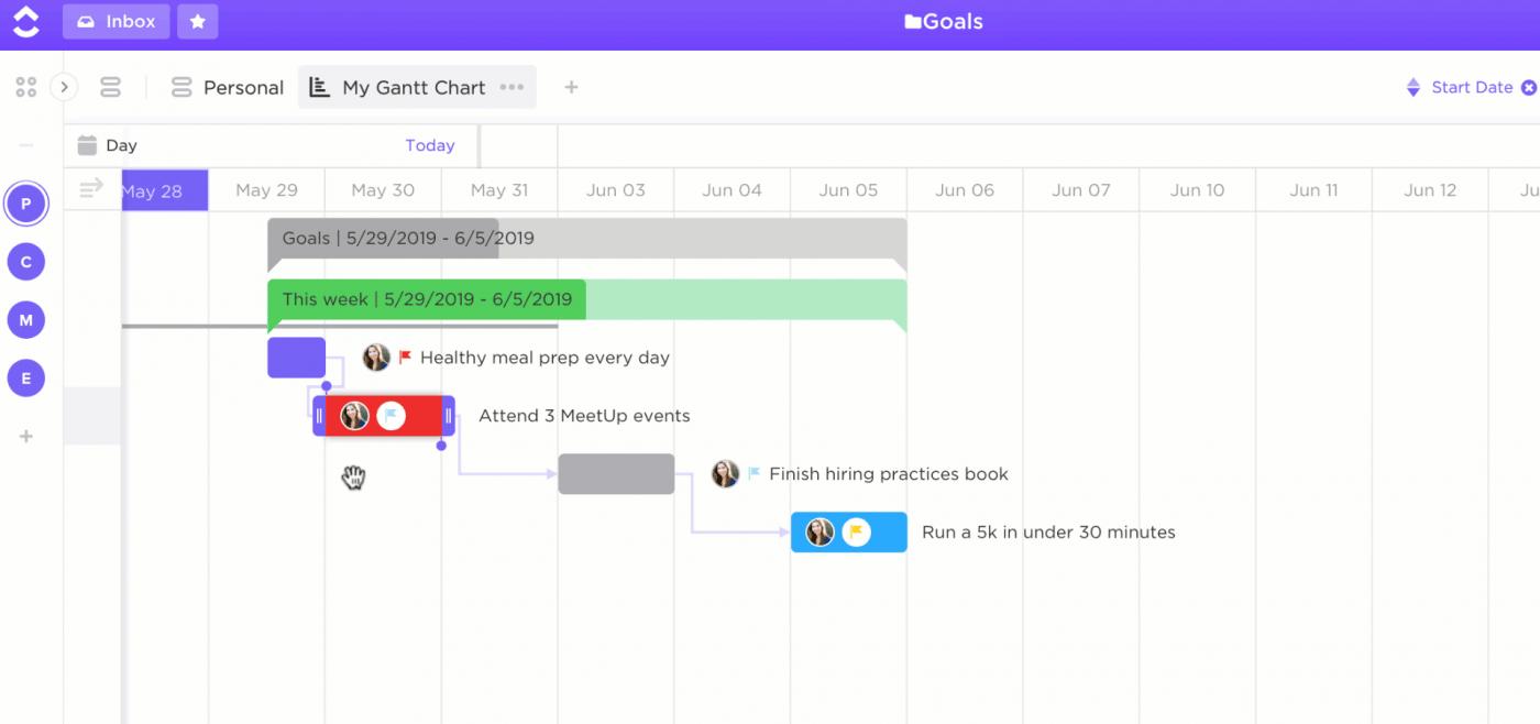 project gantt chart in clickup