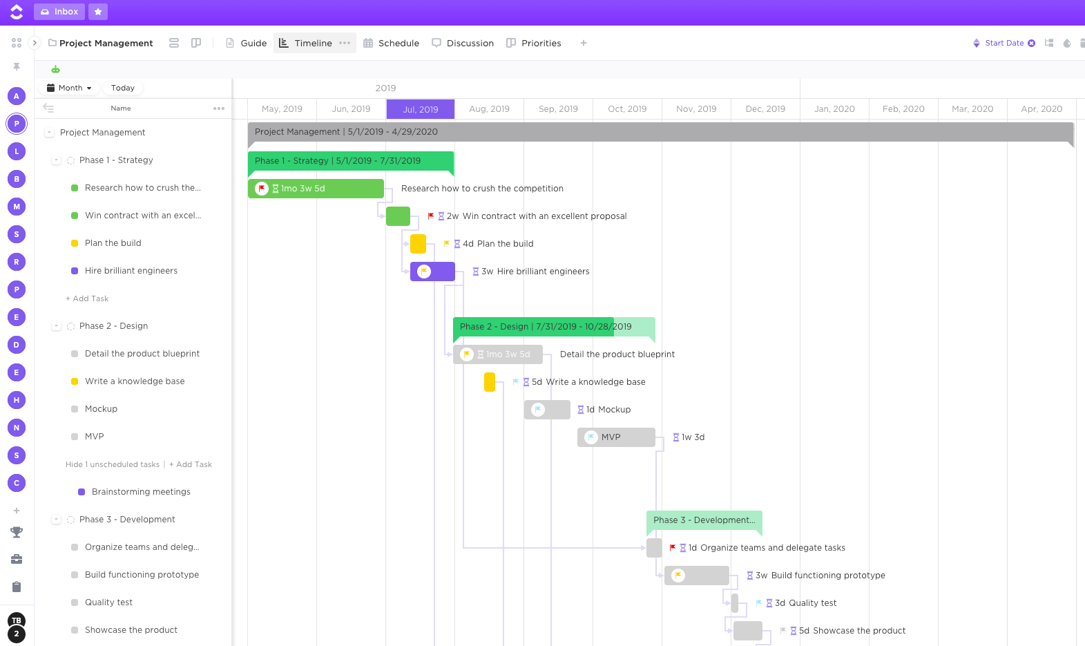 gantt chart project view in clickup