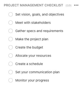 ClickUp Task Checklist