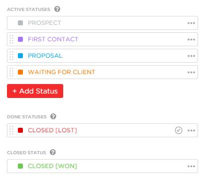 custom statuses in ClickUp