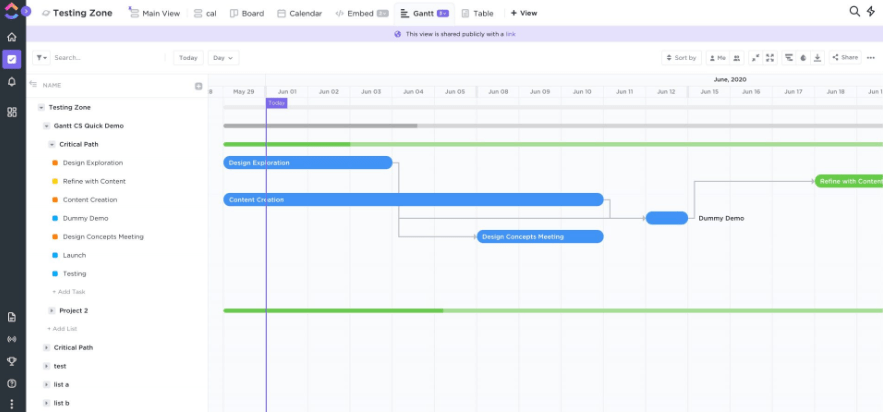 gantt chart view in clickup for agile project
