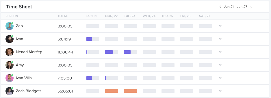 time sheet report in clickup