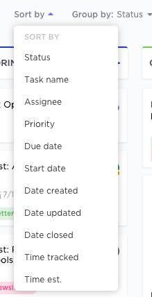 filtering settings in clickup