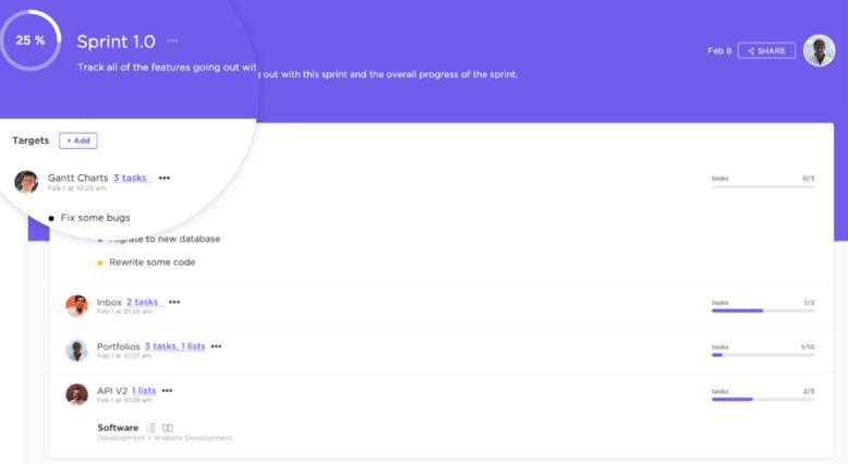 sprint goals in clickup