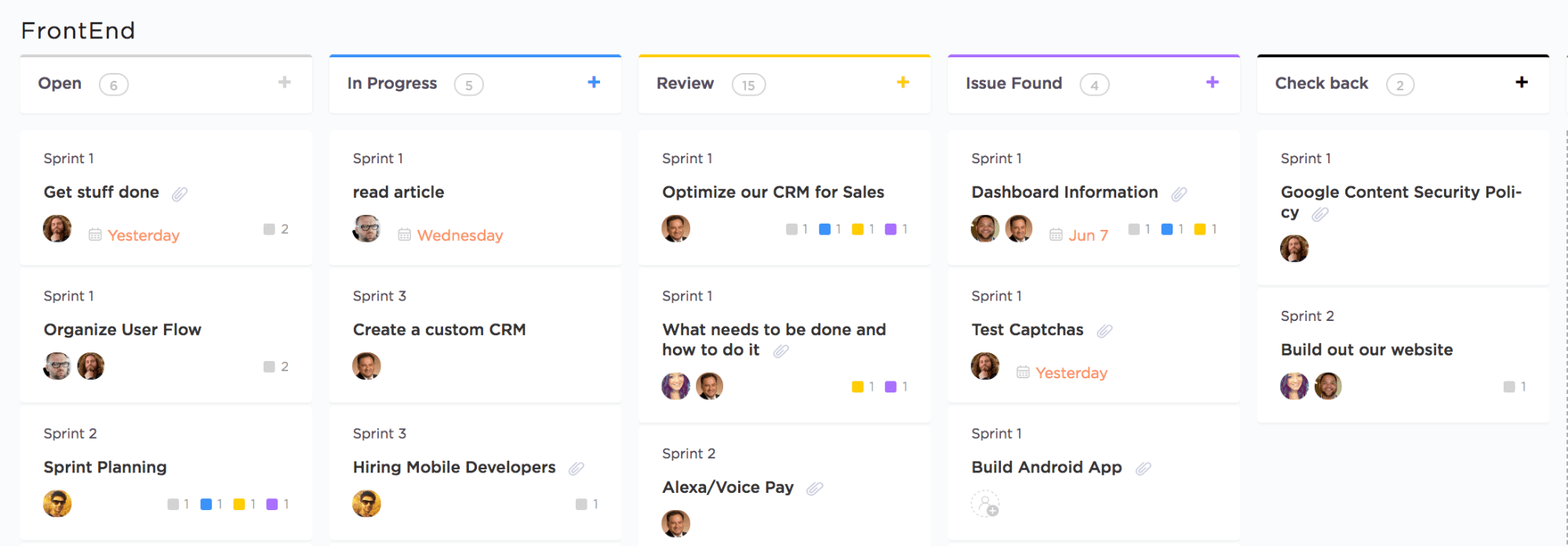board view with custom statuses in clickup