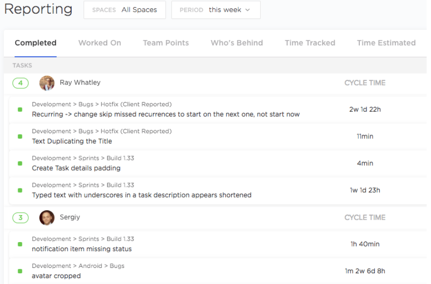 completed tasks report in clickup
