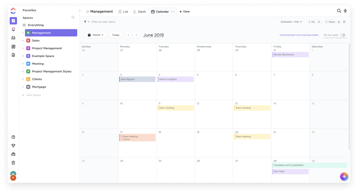 calendar view in ClickUp
