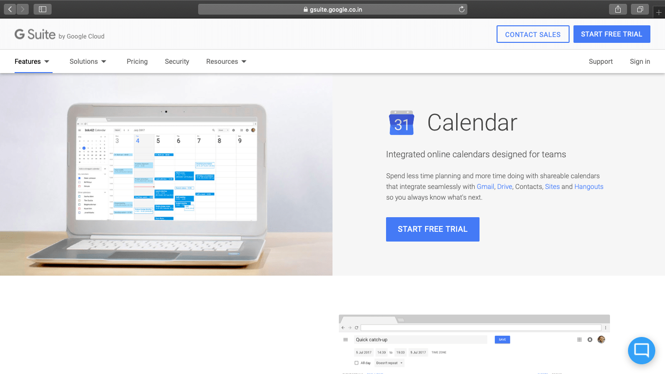 google calendar website homepage