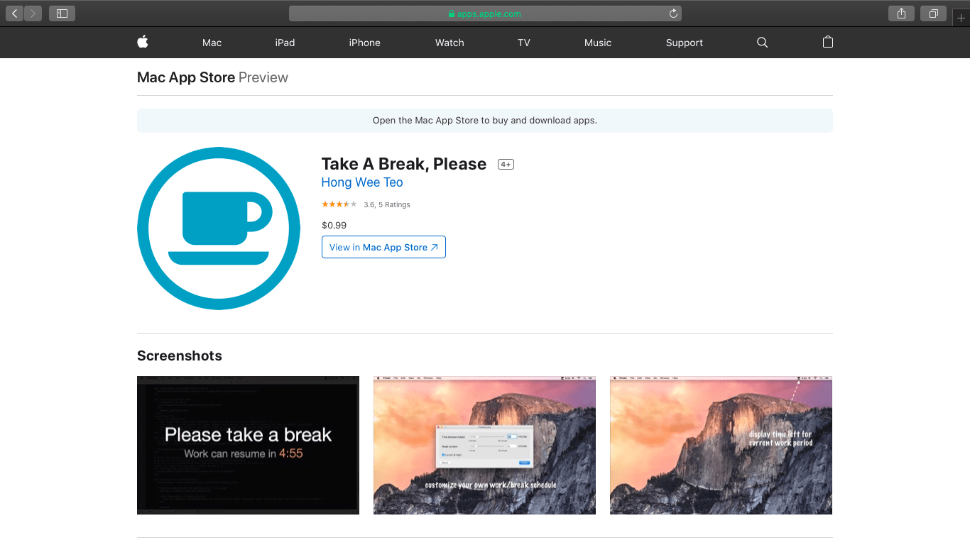 take a break app page