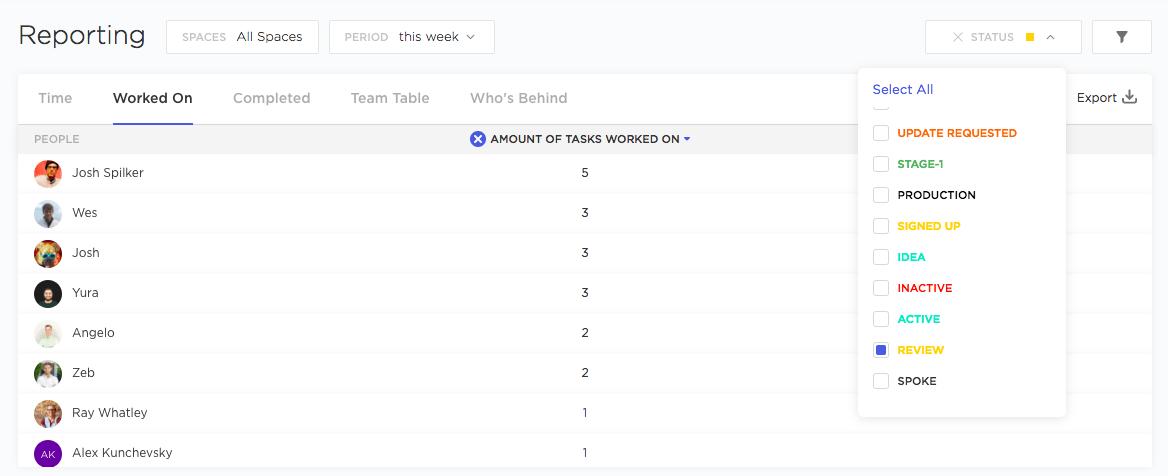 scrum team task report in clickup