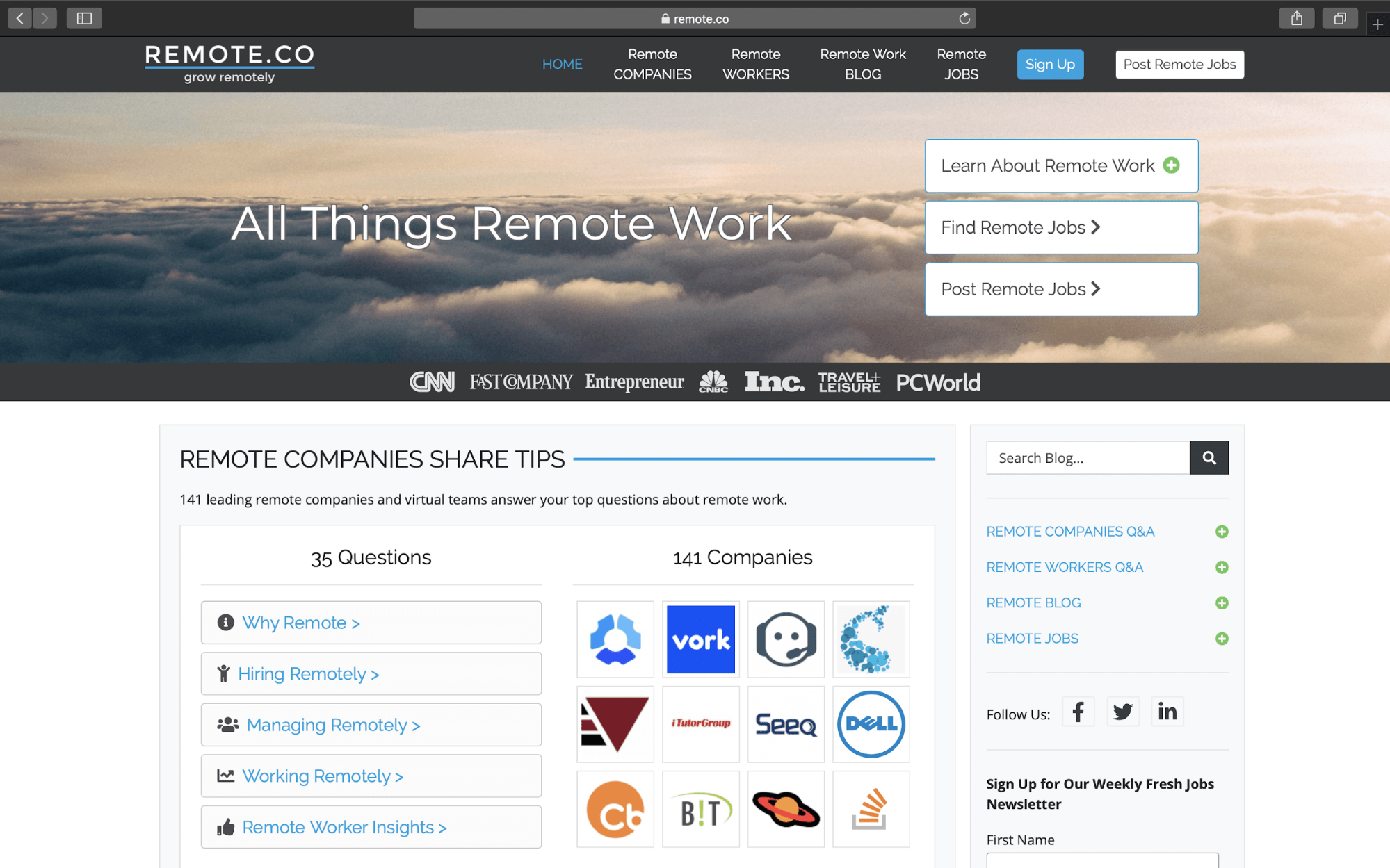 remote.co website homepage