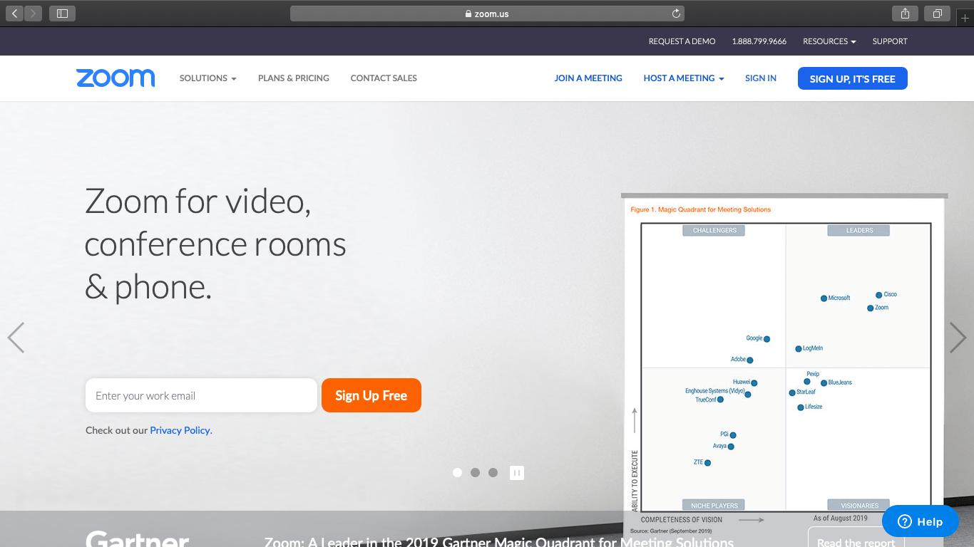 zoom website homepage
