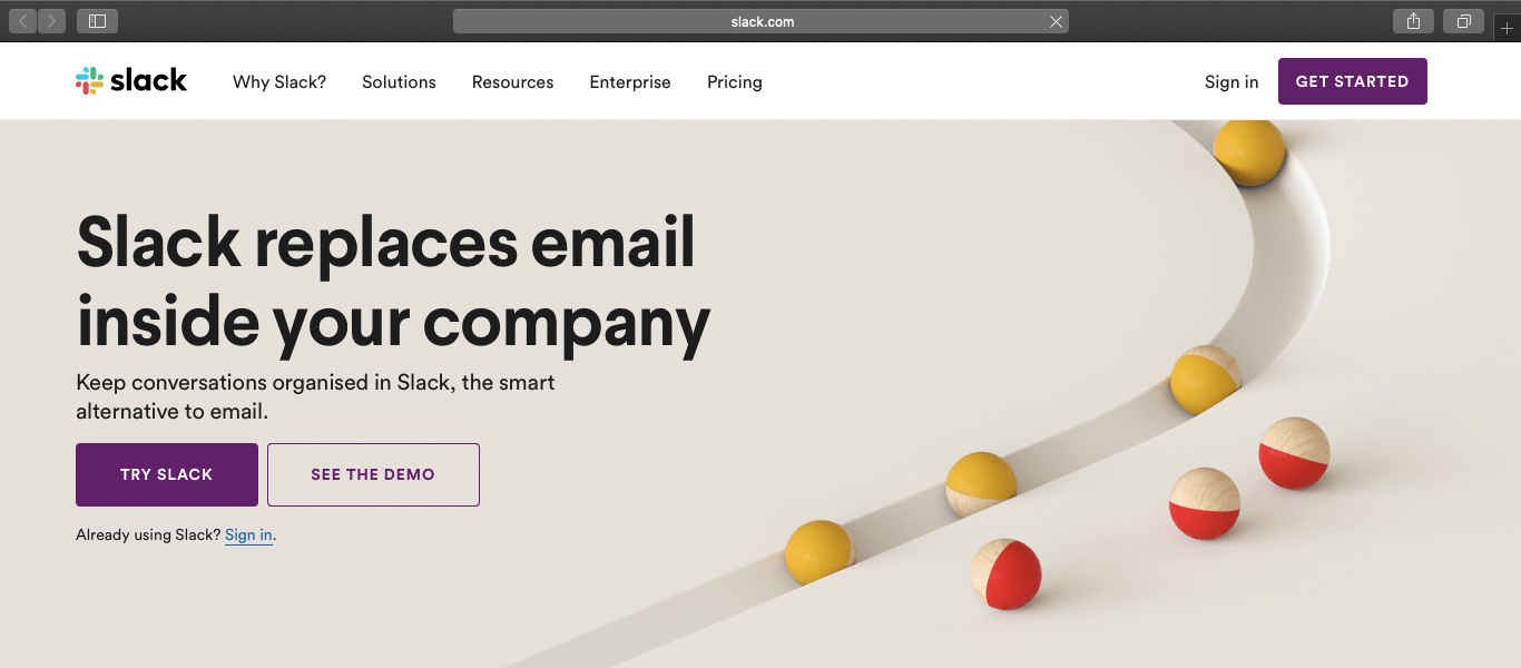 slack website homepage