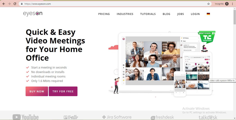 eyeson website homepage