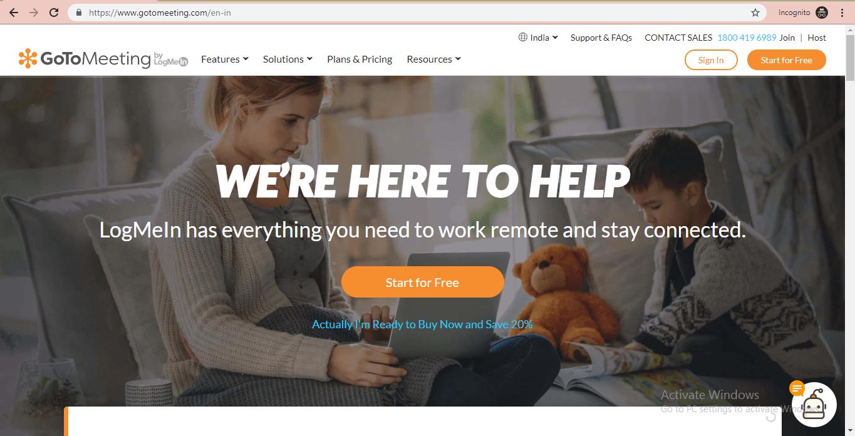 gotomeeting website homepage