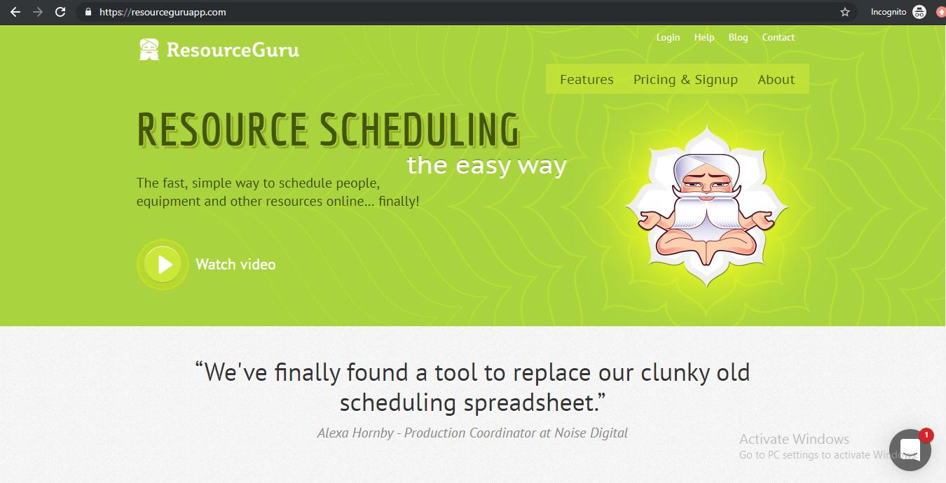 Resource Guru homepage