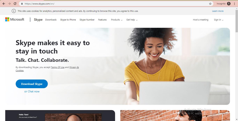 skype website homepage