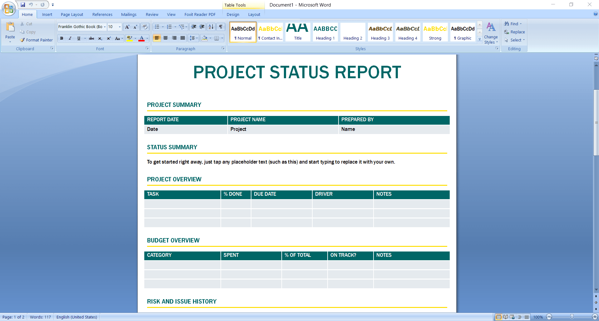 Project Status Template Excel from clickup.com
