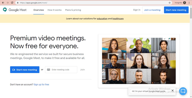 google meet website homepage