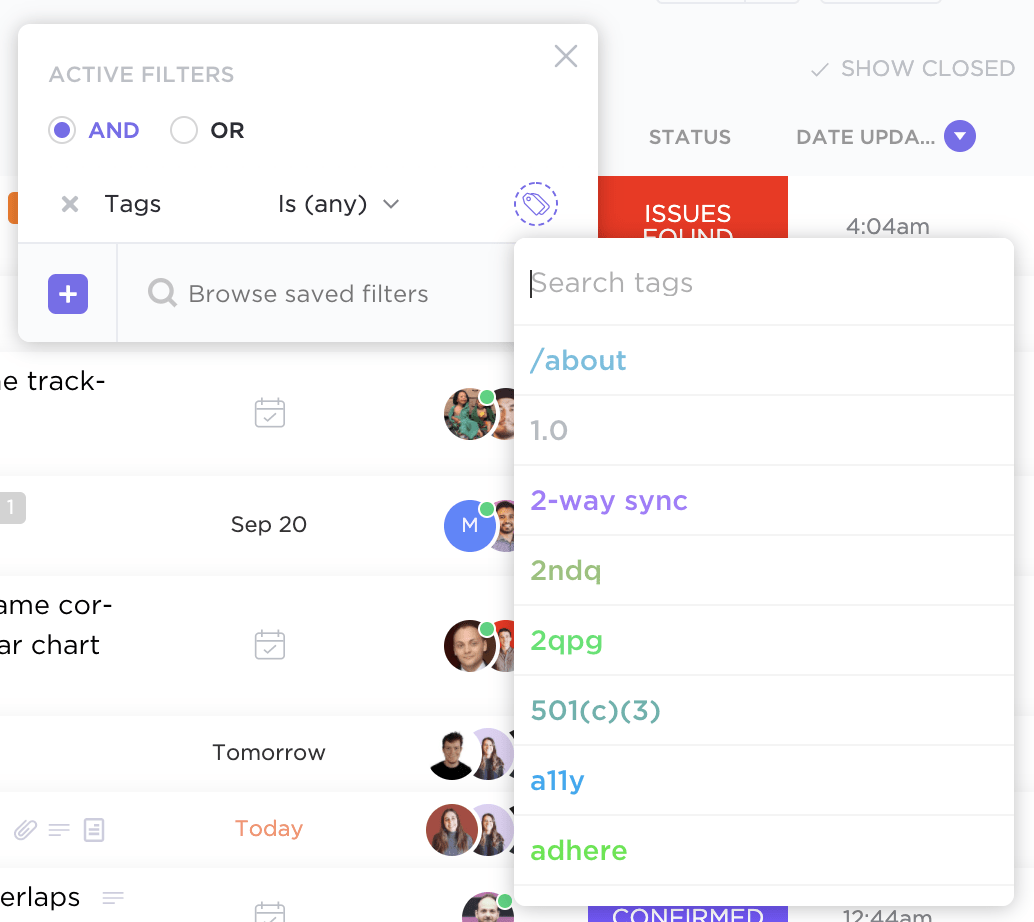 filter scrum tasks by tag in clickup