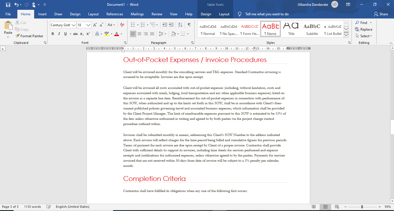 statement of work MS word template