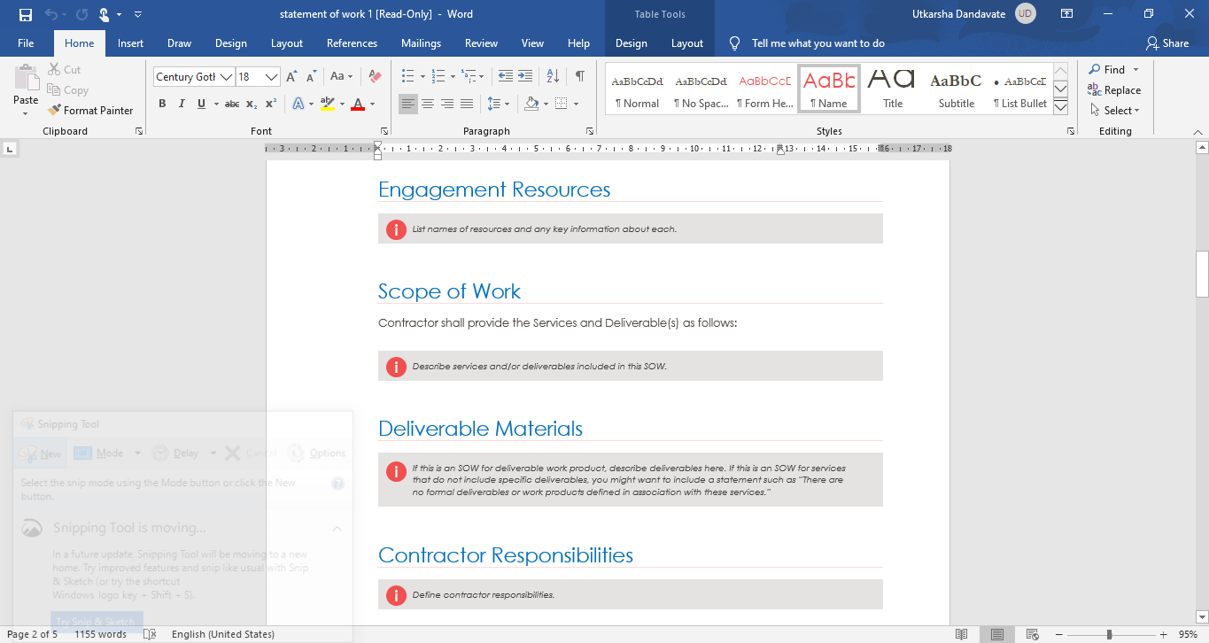 scope of work in MS word