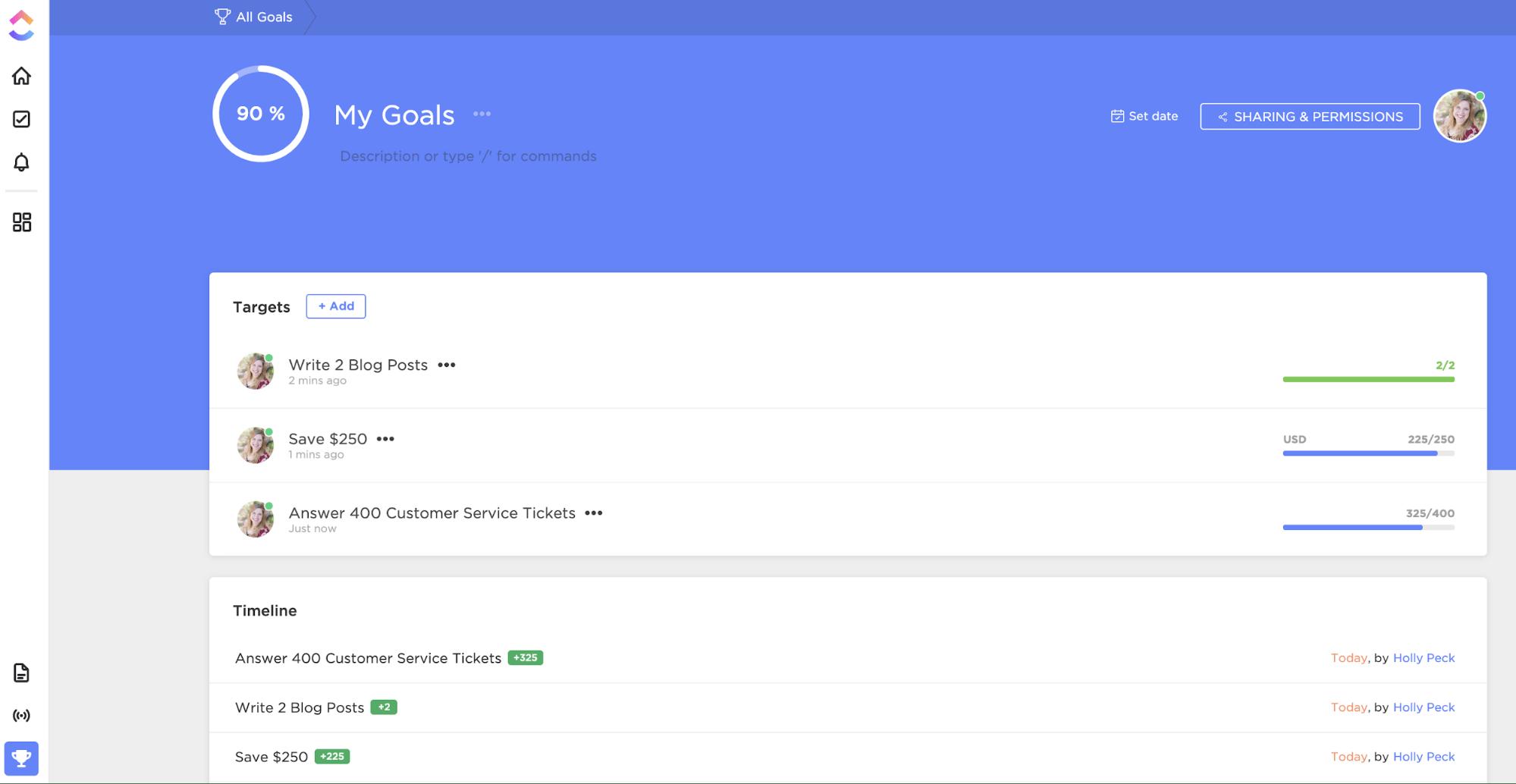 goals in clickup