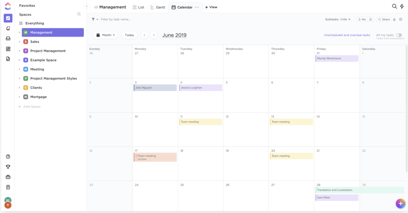 project calendar view in ClickUp