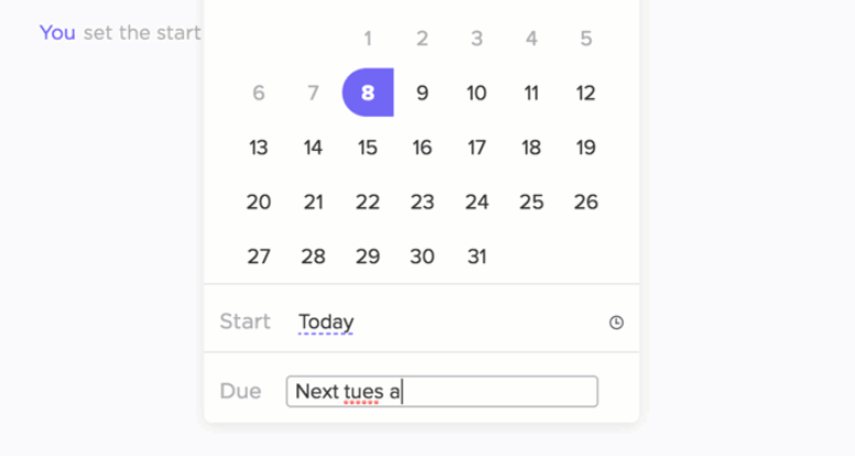 setting task due dates in clickup